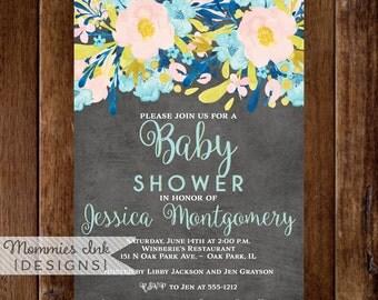 Baby Shower Invite, Sip and See Invitation, Gender Reveal Invite, Floral Invitation, Chalkboard Shower Invitation, Modern Invitation