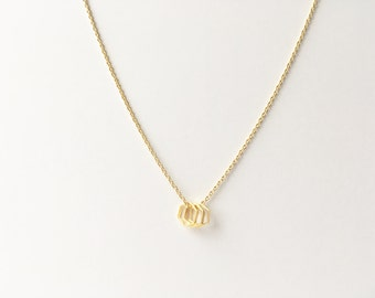 Mini Triple Hexagon Necklace