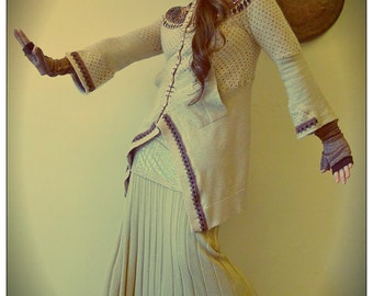 RESERVED for SHARON Upcycled Sequin Beige lambswool & Gold Lurex Cardigan               Made in England UK