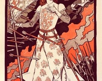 antique french illustration Jeanne d'arc joan of arc sarah bernhardt poster digital download