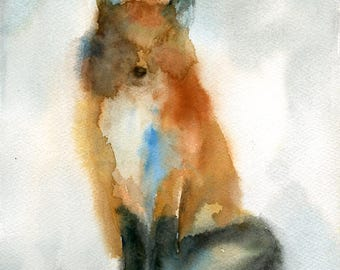 Fox  Original watercolor painting 8x10inch