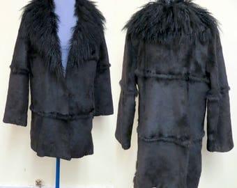 Vtg Ladies Genuine Tibetan Lamb Jacket Collar, Sheared Rabbit Coat .Curly Lamb Furs Shaggy Boho, Dark Brown & Black, Mongolian Lamb Fur