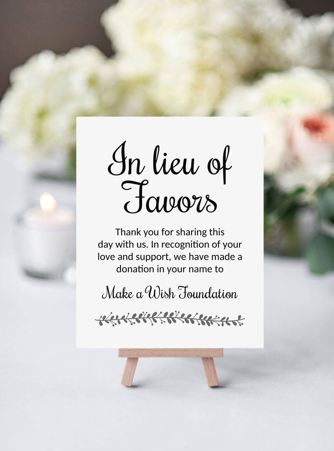 Printable In Lieu Of Favors Sign, Wedding Donation Sign, Instead of ...