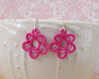Hot Pink Earrings-Tatted Lace-Flower Jewelry-Botanical Dangle-Floral Beaded-Teen-Drop-Bridesmaid Gift-Romantic-Lightweight-Vintage Style Ear