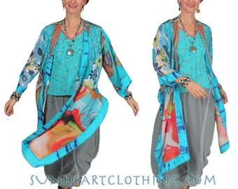 SunHeart  high low Jacket one size Boho Hippie Chic Goddess RESORT WEAR Sml Med Large xl 1x