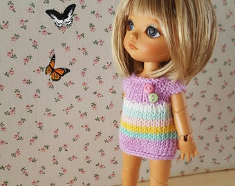 Rainbow dress for Pukifee, Lati Yellow, Mui Chan, pink, stripes, knitted, short dress, tunic for keggings