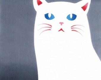Japanese Tenugui Towel Cotton Fabric, Hand Dyed Fabric, Full Moon, Kawaii Cat Design, Animal, Wall Art Hanging, Gift Wrapping, Scarf, k269