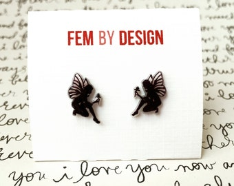 Fairy Earrings, Fairy Jewelry, Faery Wings, Winged Fairy Earrings, Black Fairies, Shrink Plastic Jewelry, Mystical Jewelry Handmade Earrings