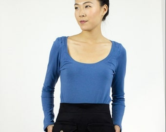 Margo long sleeve scoop top / Handmade Organic Cotton & bamboo top / Eco friendly fashion layering piece - BASICS
