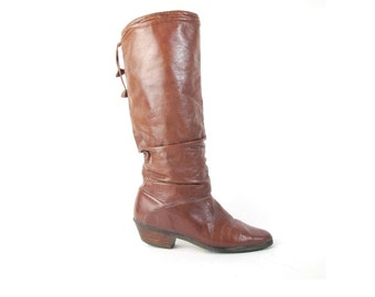 80s Slouch Boots Soft Brown Leather Boots Knee High Boots Womens Vintage 1980s Boots Low Wood Heel Boots Riding Boots Size 7 E620