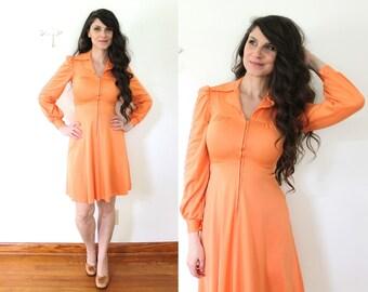 70s Mini Dress / 1970s 1960s Tangerine Orange Coral Mini Dress