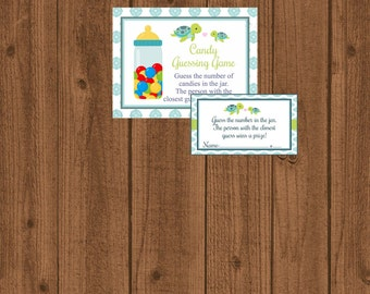 Turtle Candy Guessing Game, Turtle Baby Shower Game, Guess How Many, Baby Shower Printable Games