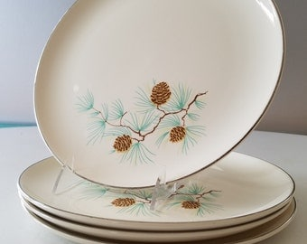 Taylor Smith Taylor Pinecone and Branches 4 Dinner Plates Great Condition