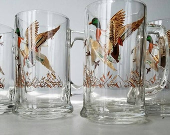 Vintage Duck/ Geese Glass Mugs Set of Four