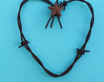 small heart wall decor made of rusted barbed wire hanging wall decor with 5 point star