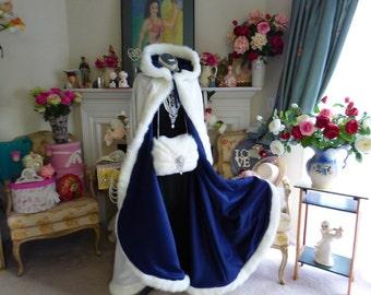 Victorian Princess Navy Blue / IVORY  Satin Bridal cape 52 inch wedding cloak with fur trim Handmade in USA