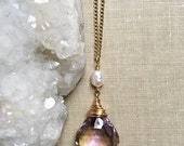 Ametrine Necklace, Freshwater Pearl, Faceted Gemstone Chain Necklace in 14k Gold Filled