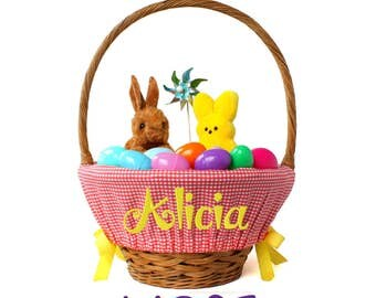 Large Personalized Easter Basket Liner for oversized baskets, Coral Gingham, Basket not included, Jumbo, Monogrammed Easter basket liner