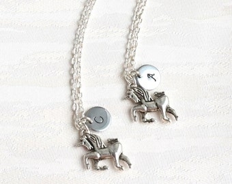 Best friend Necklace set of 2, 3 Horse Necklace with initials Unicorn Personalized Necklace Bridesmaid jewelry Best Friend gift set of 2, 3
