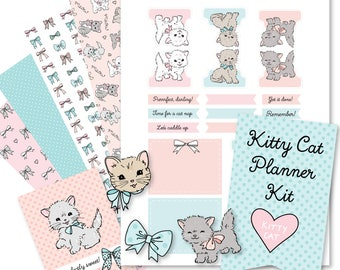 Printable KITTY CATS Planner Kit!-Digital File Instant Download- die cuts, stickers, digital paper, tabs, Bando, Happy Planner, hand drawn