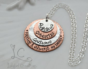Personalized Necklace with Names, Hand Stamped Jewelry, Copper and Silver Hand Stamped Necklace, Personalized Jewelry for Mom, Mothers Day