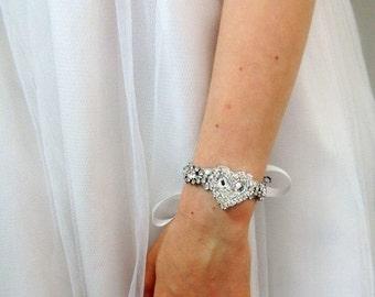 Polina baby rhinestone baptism party flower girl bracelet heart shape communion