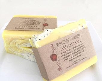 Meyer Lemon & Poppyseed Artisan Soap - Handmade Soap, Coconut Milk and Cocoa Butter Soap