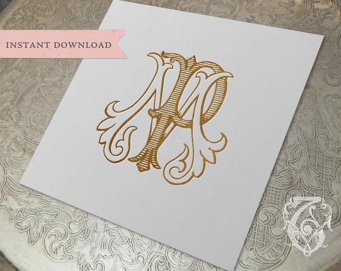 Vintage Wedding Monogram MP PM Digital Download M P