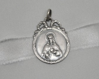 Vintage Silver Plated Brass Sacred Heart of Jesus Ribbon Bail Medal Virgin Mary