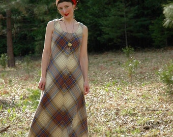 Vintage 1960s Wool Plaid Maxi Dress... 60s Plaid Long Dress