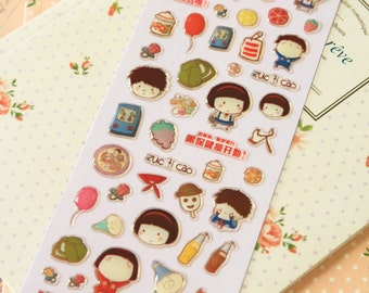 Blue Childhood Memories Puffy scrapbooking diary stickers