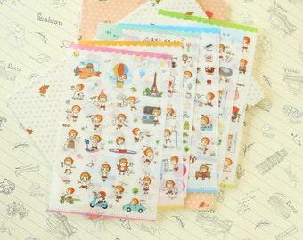 OK Girl cartoon diary stickers
