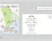 SIMPLE Save the Date - Any City/State/Country (100 Postcard Prints Main Wedding Map) - Listing for Carla