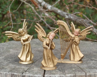 Vintage Gold Plastic Angel Figurines for crafting and decorating Made in Hong Kong