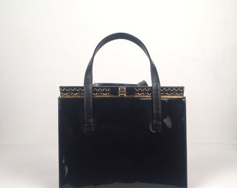 Vintage 1950s By Triangle Black Patent Leather Handbag