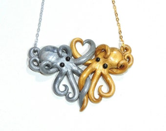 Made to order Intertwined Octopi in love Necklace, silver and gold. Gift. Best friends. Valentines