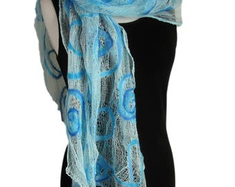 Large Blue Cotton Wrap - Large Blue Nuno Felt Stole - Blue Scarf - Plus Size