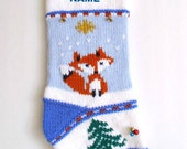 Christmas Stocking  Personalized Fox Hand knit Baby first Christmas stocking Embroidered Rustic stocking  Christmas home decor Ready to ship