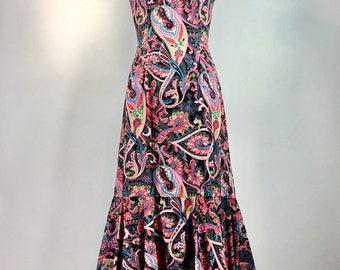 Vintage Paisley Cage Top Maxi Dress Boho Hippie Sun Dress 32 Bust