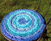 """17 reserved for Ali Set of 2 round, crochet """"braided"""" chairpads in shades of blue, boho chic, shabby chic, at home on the porch #17"""