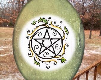Swirling Leaves Pentacle Glass Suncatcher