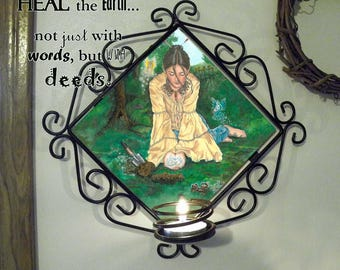 Heal the Earth Wall Candle Sconce