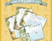 Baby Shower Games / Winnie the Pooh / Pooh Bear / Word Search, Bingo, Nursery Rhyme, Baby Animals / Gender Neutral