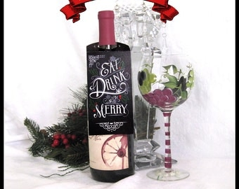 Holiday Wine Tags / Eat, Drink and be Merry / Chalkboard Wine Bottle Tag / Christmas Xmas / DIY Instant Download / Victorian Typography
