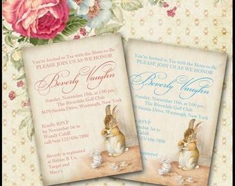 Bunny Rabbit Invitation / Tea Party Invite / Baby or Bridal Shower, Birthday, Sip & See / DIY Printable / Coral or Blue / Peter Rabbit