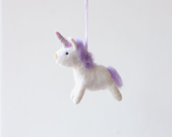 Felted unicorn  ornament