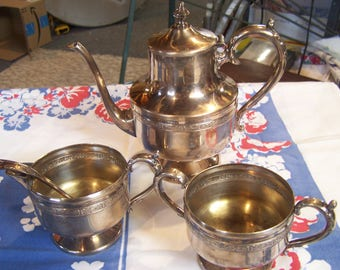 Antique, Vintage Silver Plated Tea Service, Auerbach, Art Deco, 3 Piece Set, Formal Tea Party, Early 1900s, 1920s