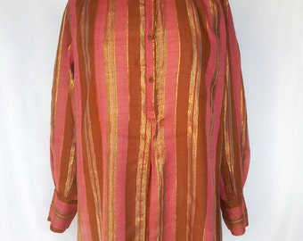 1970s Cotton Lurex Blouse, Nirvana Made in India, Stripes, Plus Size, Large XL
