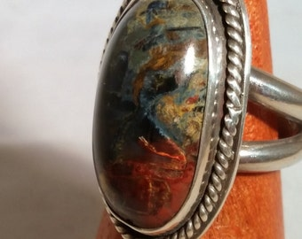 Pietersite and Sterling Silver Ring Size 7