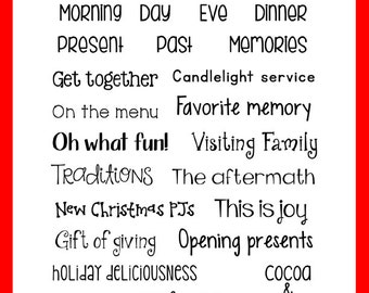 This is December #2 Clear Stamps - Christmas Day, Family, Traditions, Gifts - Use with Project Life, December Daily, Journal, Memory Keeping